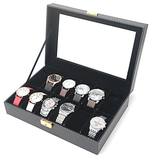 12 Slots Carbon Fiber Full Black Watch Storage Box