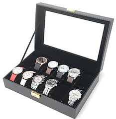 12 Slots Carbon Fiber Full Black Watch Storage Box.