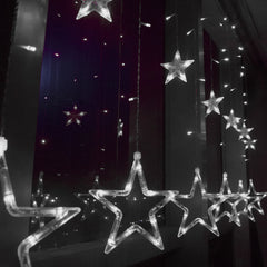 8 Modes - 3 Meter 12 Stars Curtain Lights Power Point, Pure White - Starzdeals