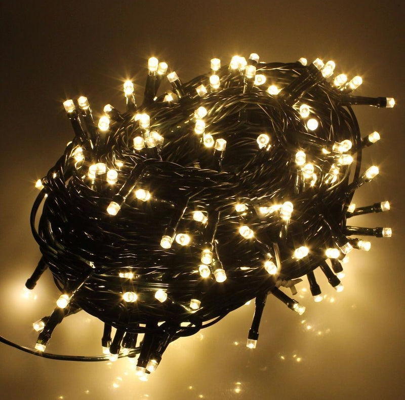 8 Modes - 10 Meter 100 Led Fairy Black String Light Power Point , Warm White