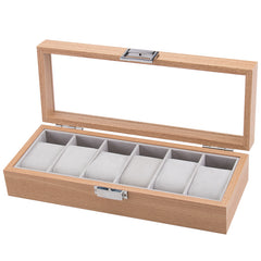 6 Slot Wooden Watch Storage Box