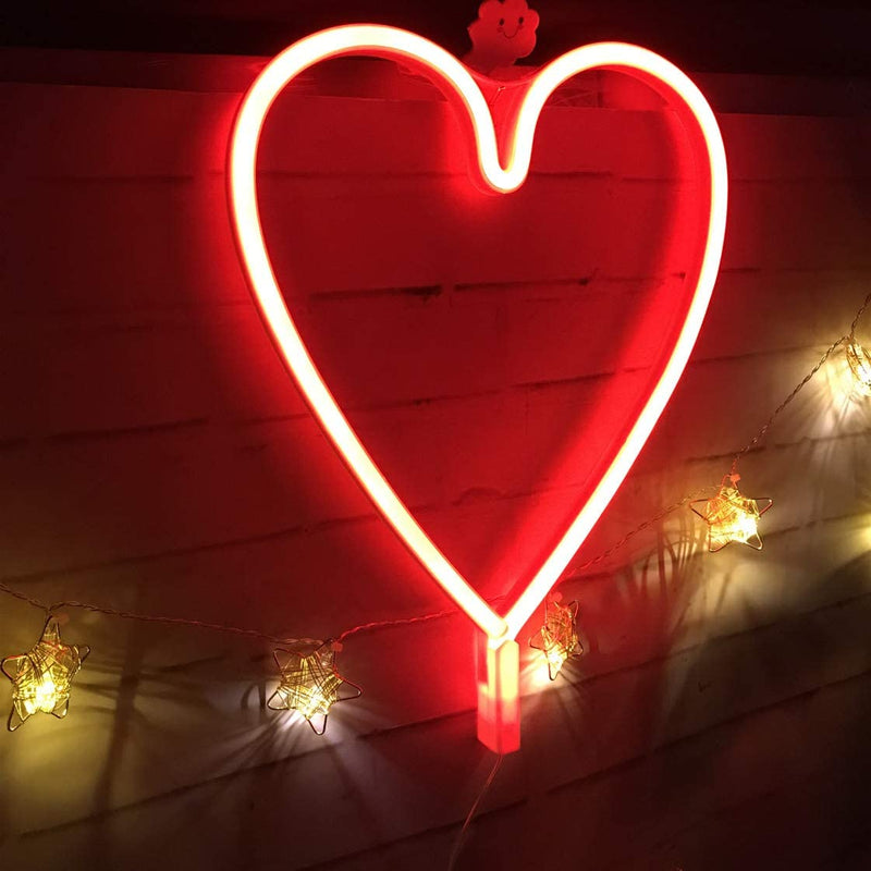 Hearts Neon Light, Powered by USB / Battery Operated, Red