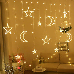 USB 3 Meter Stars + Moon Curtain Lights, Warm White + Remote Control