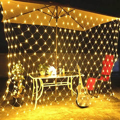 8 Modes - 3 Meter x 3 Meter 320 Led Fairy Curtain Net Light Power Point , Warm White - Starzdeals