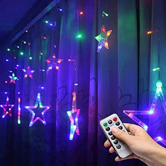USB 2.5 Meter 12 Stars Curtain Lights Power Point, Multi + Remote Control