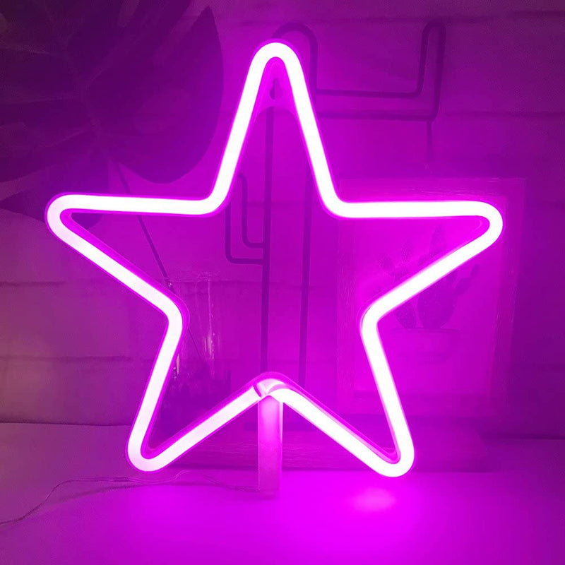Stars Neon Light, Powered by USB / Battery Operated, Pink