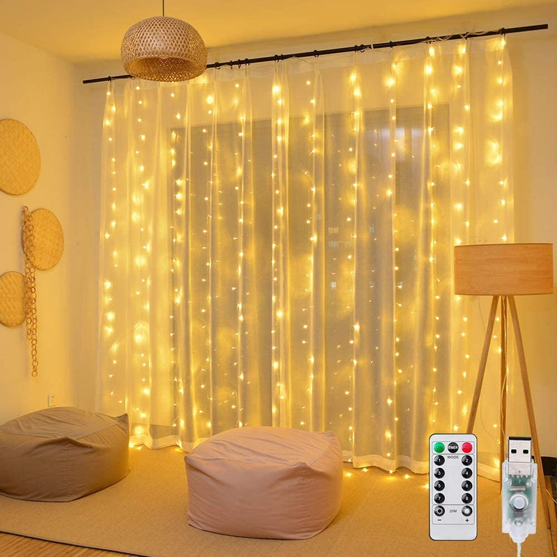 USB Operated - 3 Meter x 2 Meter 200 Led Fairy Curtain Lights , Warm White