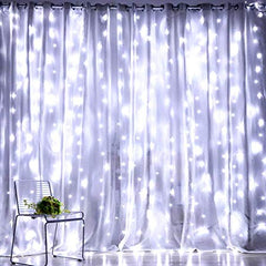 8 Modes - 3 Meter x 2 Meter 240 Led Curtain Light Power Point , Pure White - Starzdeals