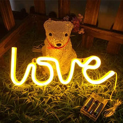 LOVE Neon Light, Powered by USB / Battery Operated, Warm White