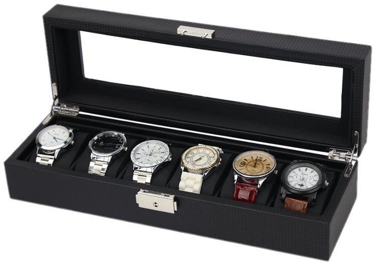 6 Slots Carbon Fiber Inner Matte Watch Storage Box