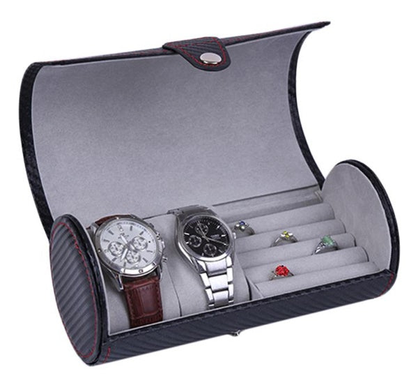 2 Slot Watch + Ring Travel Case - Carbon Fiber Black - Starzdeals