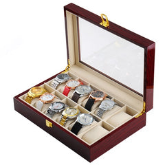 12 Slots Rose Wood Watch Storage Box