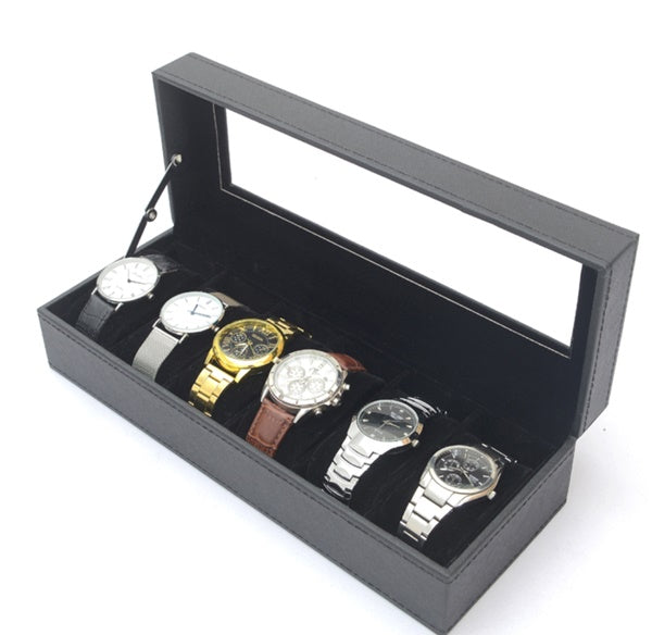 6 Slots Custom Made PVC Jewelry Display Watch Storage Box, Black.