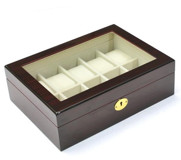 10 Slots Dark Rose Wood Watch Storage Jewelry Box Case.