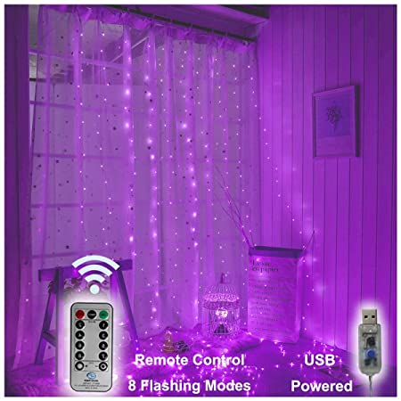 USB Operated - 3 Meter x 3 Meter 300 Led Fairy Curtain Lights , Purple