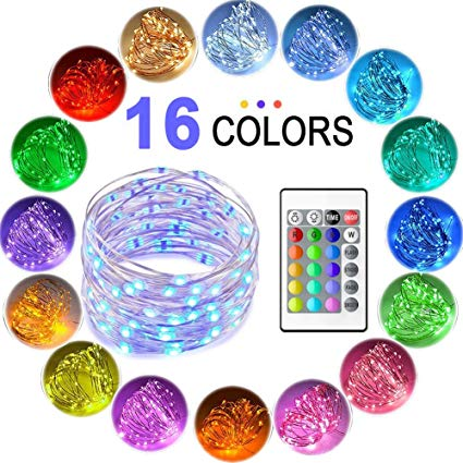 16 Colors - 10 Meter 100 Led RGB Silver Wire Battery Operated + Remote Control
