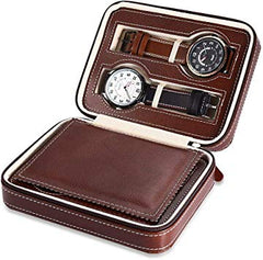 4 Slots Travel Watch Case - Brown.