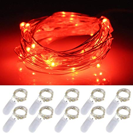 1 Meter 10 Led 2032 Silver Wire Fairy String Light, Red - Starzdeals