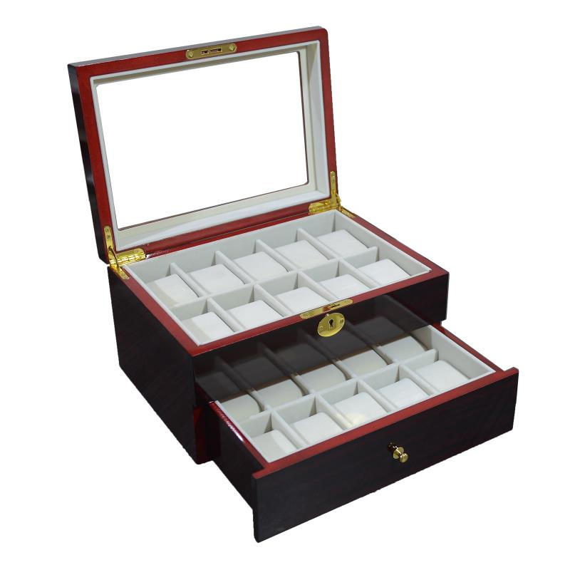 20 Slots Dark Rose Wood Jewelry Watch Storage Box Case