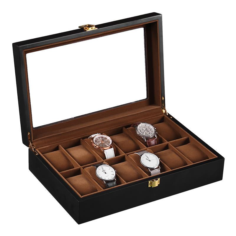 12 Slots Black Matte Wood Inner Brown Watch Storage Box - Starzdeals