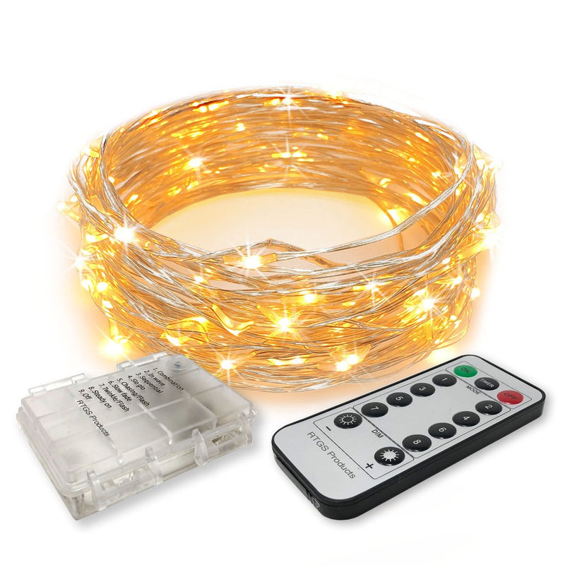 10 Meters 100 Led Battery Operated Silver Wire with 8 Modes + Remote Control, Warm White - Starzdeals