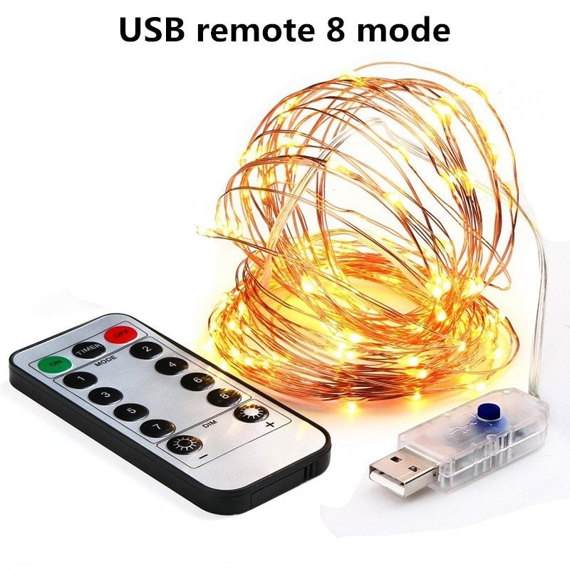 10 Meters 100 Led USB Copper Wire with 8 Modes + Remote Control, Warm White.