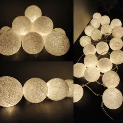 Battery Operated - 4 Meter 40 Cotton Balls Fairy String Light , Warm White