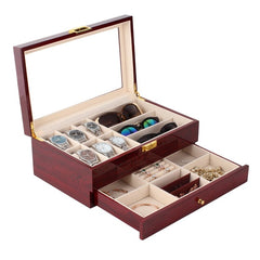 2 Tier Rose Wood Watch + Specs + Jewelry Storage Box.