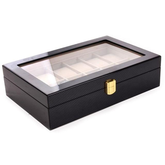 12 Slots Glossy Carbon Fiber Wood Watch Storage Box