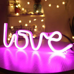 LOVE Neon Light, Powered by USB / Battery Operated, Pink