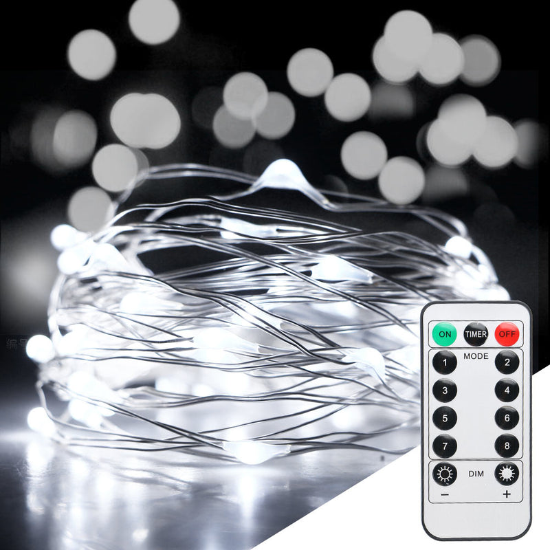 10 Meters 100 Led Battery Operated Silver Wire with 8 Modes + Remote Control, Pure White - Starzdeals
