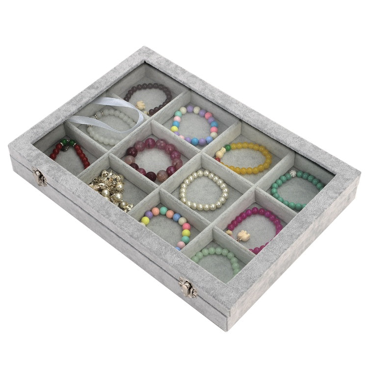 Velvet Jewelry Box - 12 Slots with Glass Cover