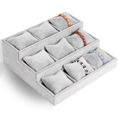 Velvet Watch Jewelry Display Tray - 3 Tier 9 Slots Holder with Soft Cushion Pillows, Gray
