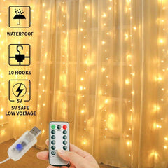 USB Operated - 3 Meter x 3 Meter 300 Led Fairy Curtain Lights , Warm White - Starzdeals