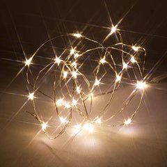 2 Meters 20 Led Silver Wire Battery Operated, Warm White
