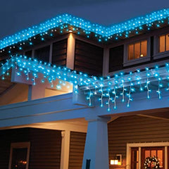 (Custom Made) 8 Modes - 3 Meter x 1 Meter 200 Led Curtain Lights Power Point, Light Blue (Cyan)