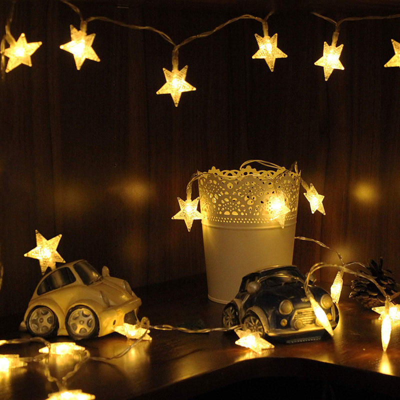 Battery Operated - 5 Meter 50 Stars Fairy String Light , Warm White