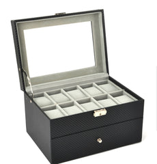 20 Slots Carbon Fiber Watch Jewelry Storage Box.