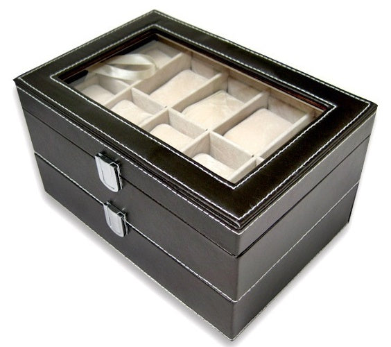20 Slots Dual Bucket 2 Tier Watch Storage Box - Starzdeals