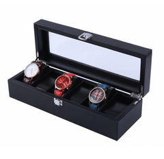 6 Slot Full Black + Inner Black PVC Cushion Watch Storage Box