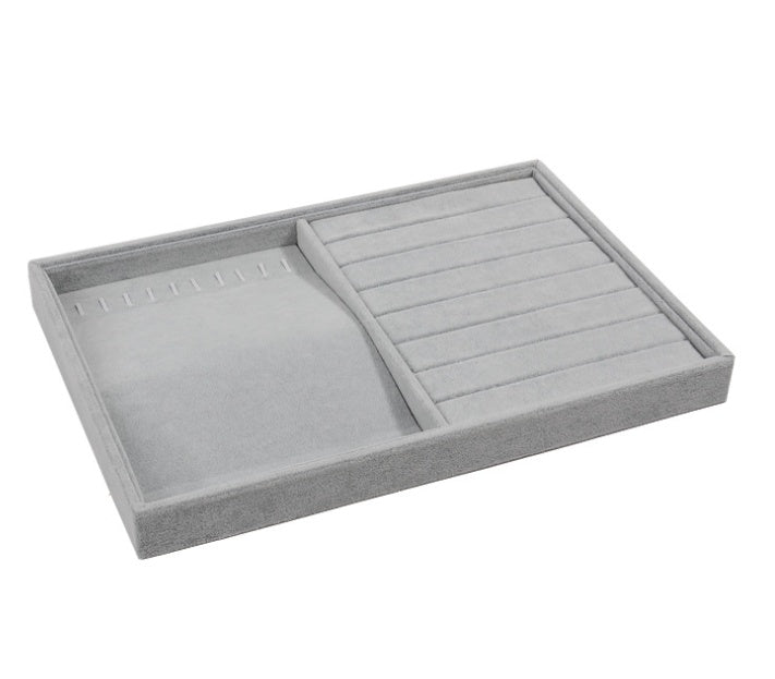 2 in 1 Velvet Grey Jewelry Display Tray