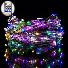 10 Meters 100 Led Battery Operated Silver Wire with 8 Modes + Remote Control, Multi.