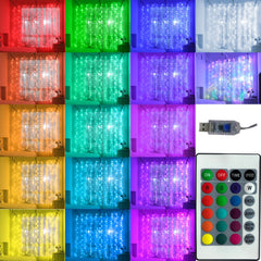 16 Colors - USB 3 Meter x 1 Meter Silver Wire 100 Led Curtain Lights + Remote Control