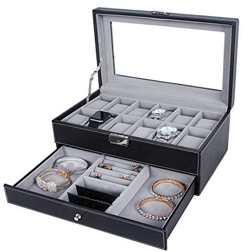 12 Slots 2 Tier Watch + Jewelry Storage Box.