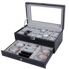 12 Slots 2 Tier Watch + Jewelry Storage Box