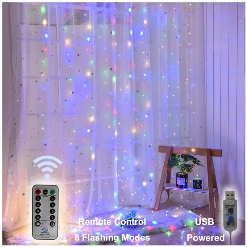 USB Operated - 3 Meter x 3 Meter 300 Led Fairy Curtain Lights , Multi