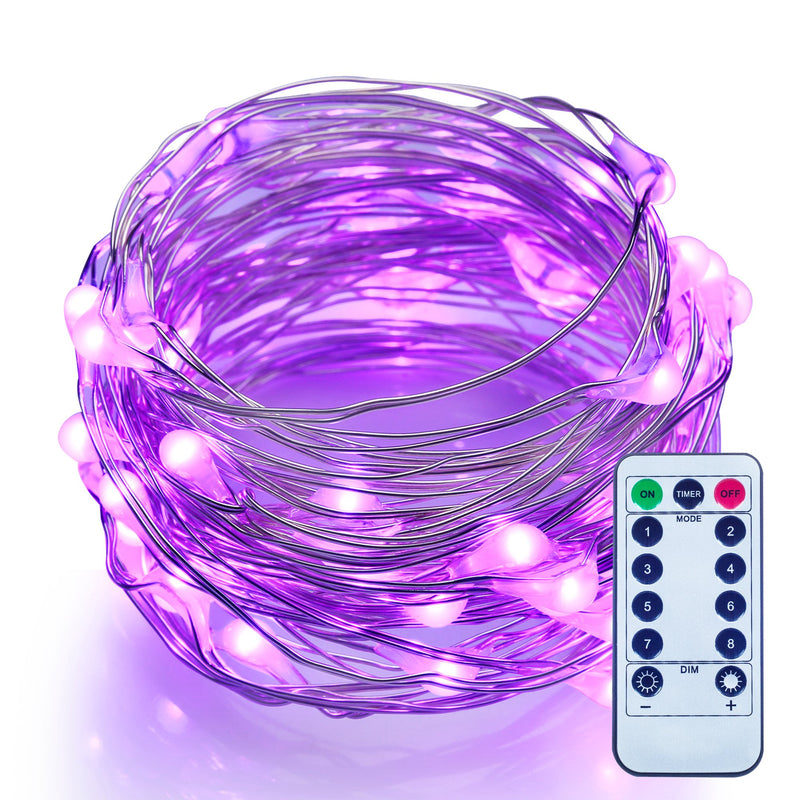 10 Meters 100 Led USB Silver Wire with 8 Modes + Remote Control , Purple