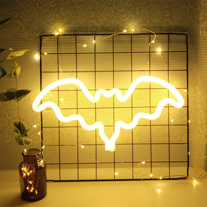 Bat Shaped Neon Light, Powered by USB / Battery Operated, Warm White