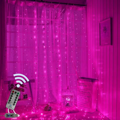 USB Operated - 3 Meter x 3 Meter 300 Led Fairy Curtain Lights , Pink