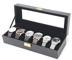 6 Slots Carbon Fiber Full Black Watch Storage Box.